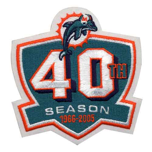 Miami Dolphins 40th Season Anniversary Patch (2005)