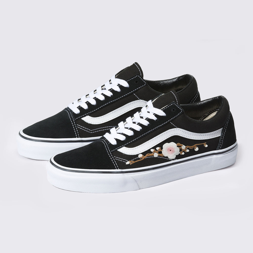 Vans Black Old Skool Vans Pink Cherry Blossom Handmade Shoes By Patch Collection