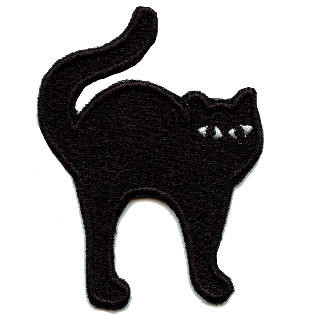 Spooky Halloween Black Cat Embroidered Iron On Patch