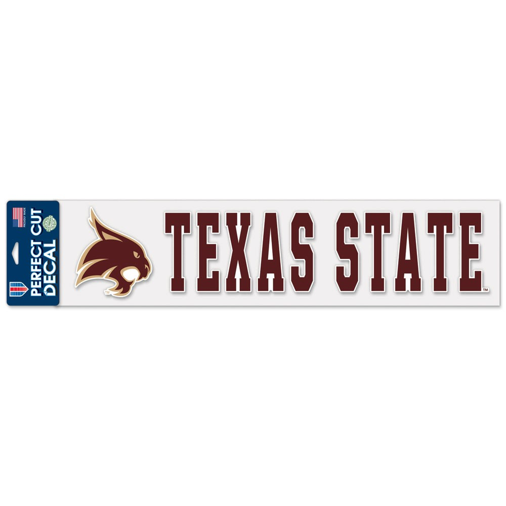 "Texas State University Bobcats Logo Perfect Cut Decal 4"" x 17"" (Colored)"