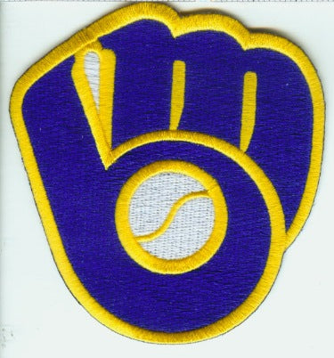 Milwaukee Brewers Glove & Ball Throwback Logo Patch (Yellow Border)