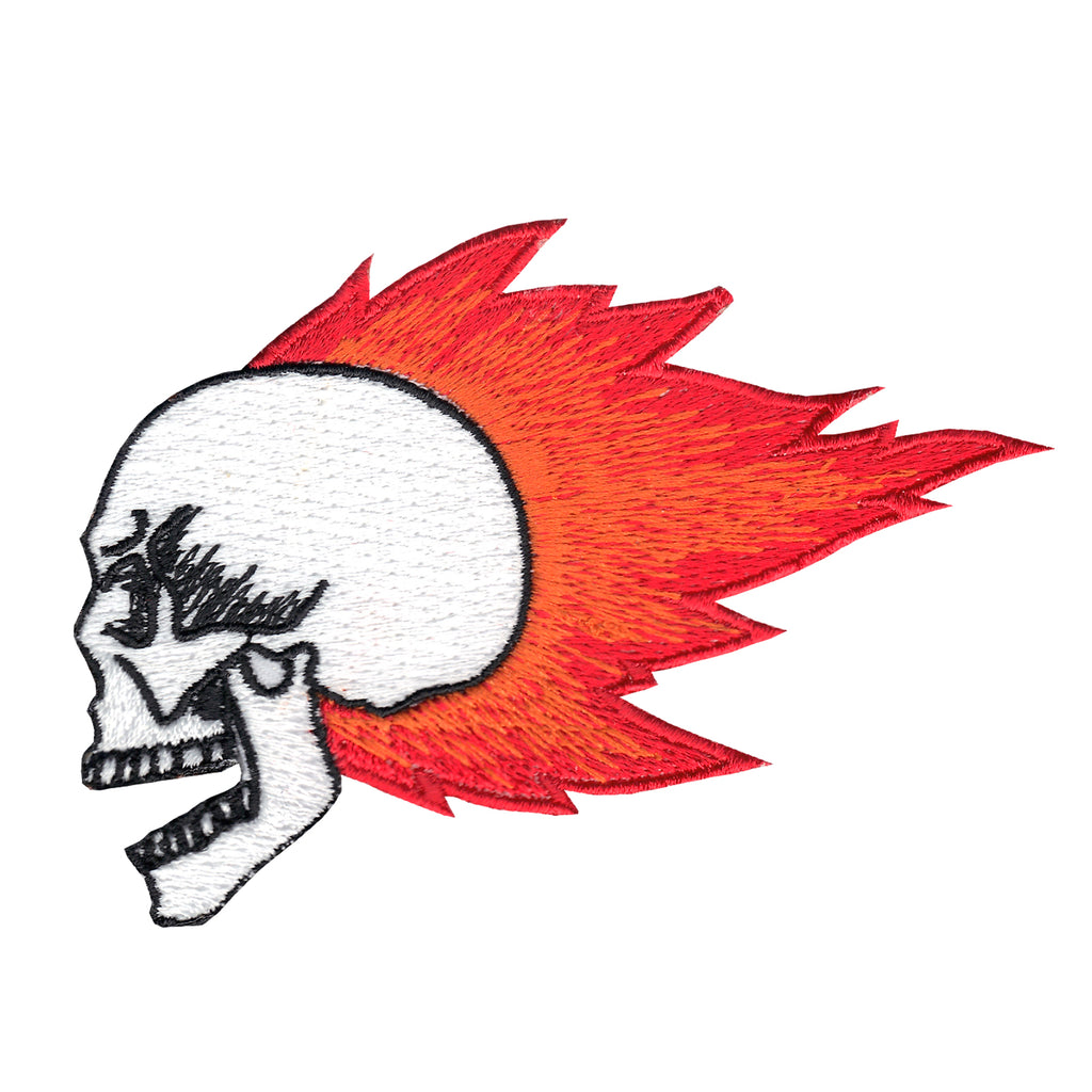 Flaming Skull Iron On Applique Patch