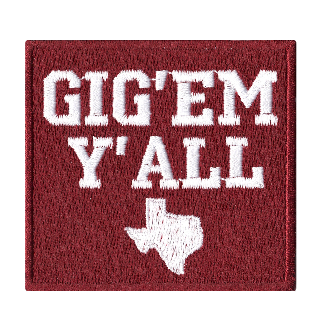 Texas Gig Em Yall Iron On Patch