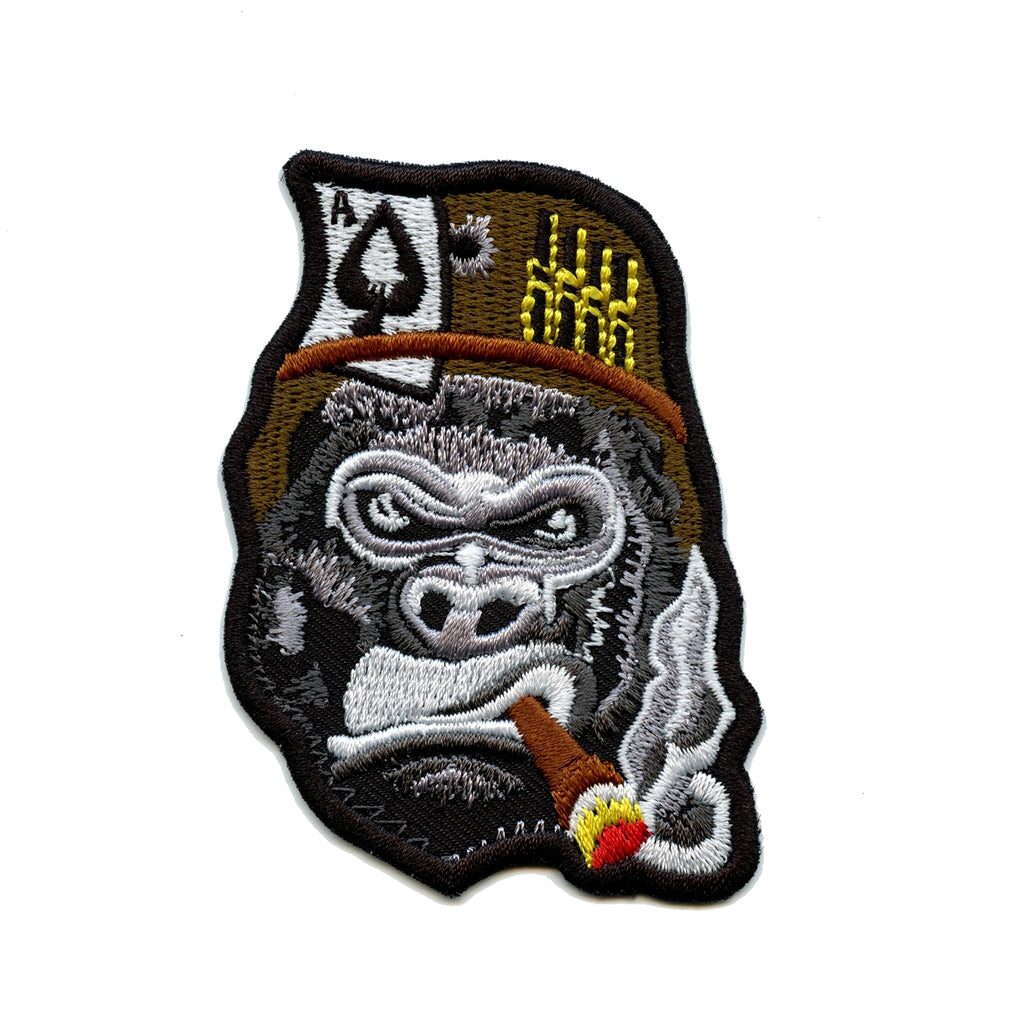 Gorilla General Smoking Cigar Embroidered Iron On Patch