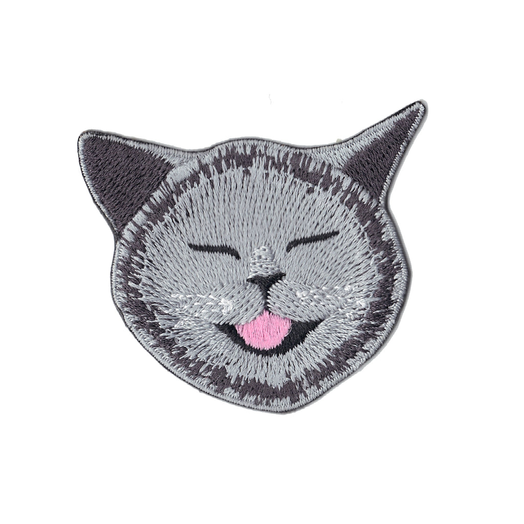 Smiling Grey Cat Embroidered Iron On Patch