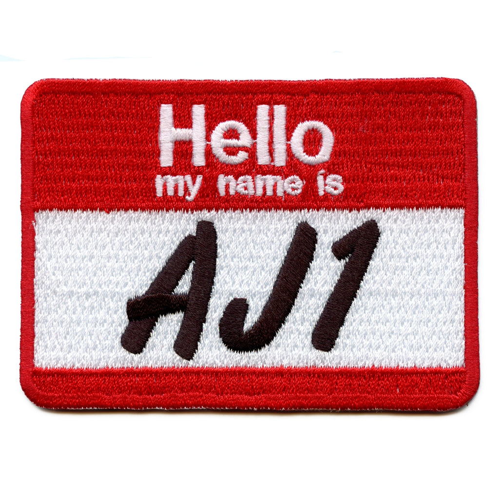 Hello My Name Is AJ1 Name Tag Iron On Patch