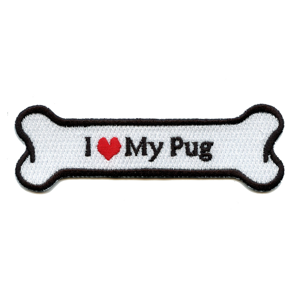 I Heart My Pug Dog Bone Iron On Applique Patch