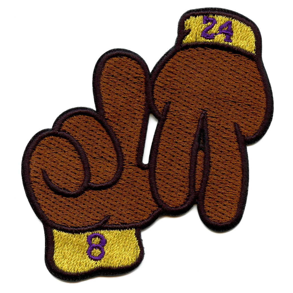 Los Angeles L.A. Fingers Sign Hands 8 & 24 Yellow Wrist Bands Basketball Iron On Patch