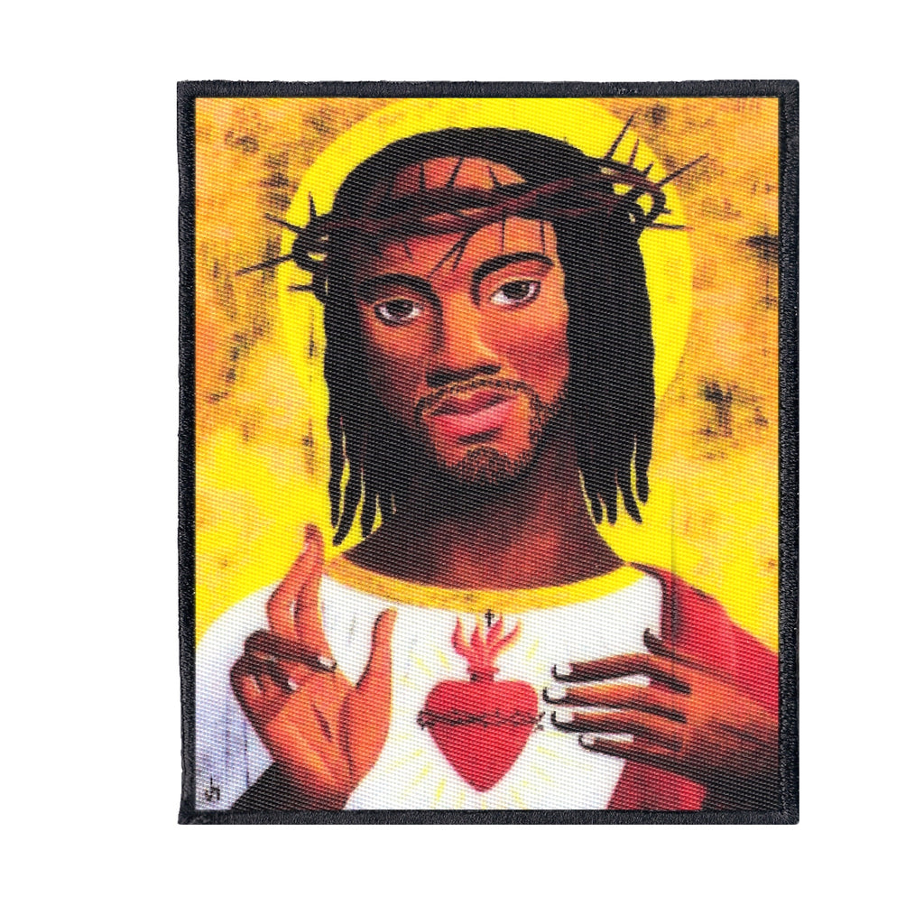 Black Jesus Embroidered Iron-on Foto Patch