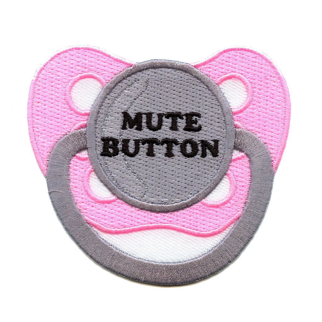 Pink Pacifier Mute Button Embroidered Iron-on Patch
