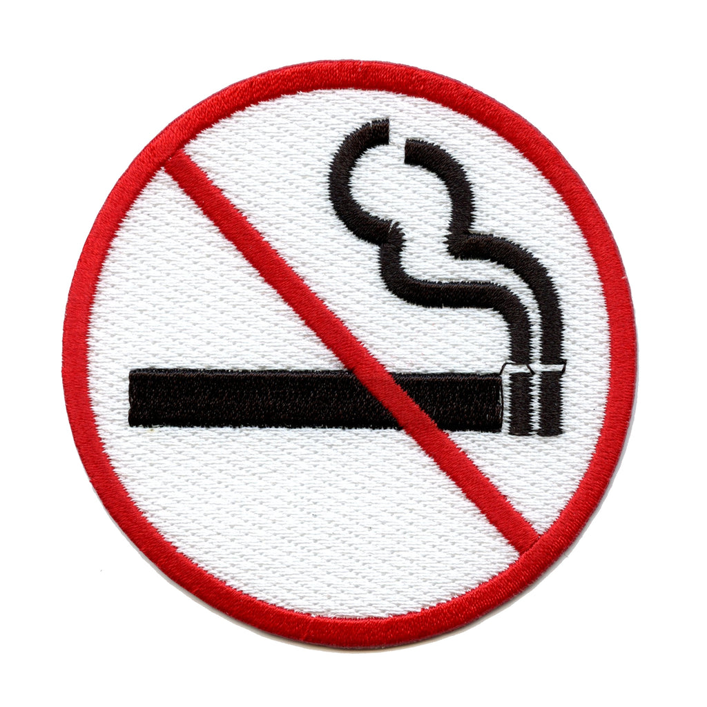 No Smoking Sign Logo Embroidered Iron On Patch