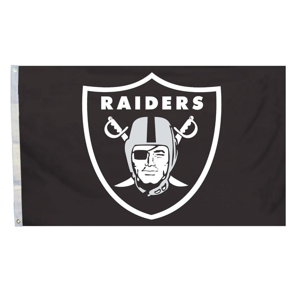 Oakland Raiders Logo Black 3' X 5' NFL Flag