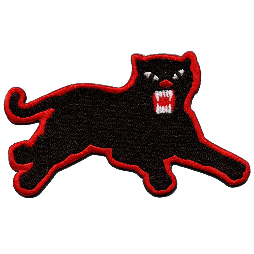 Panther Red Border Iron On Embroidered Patch (Right)