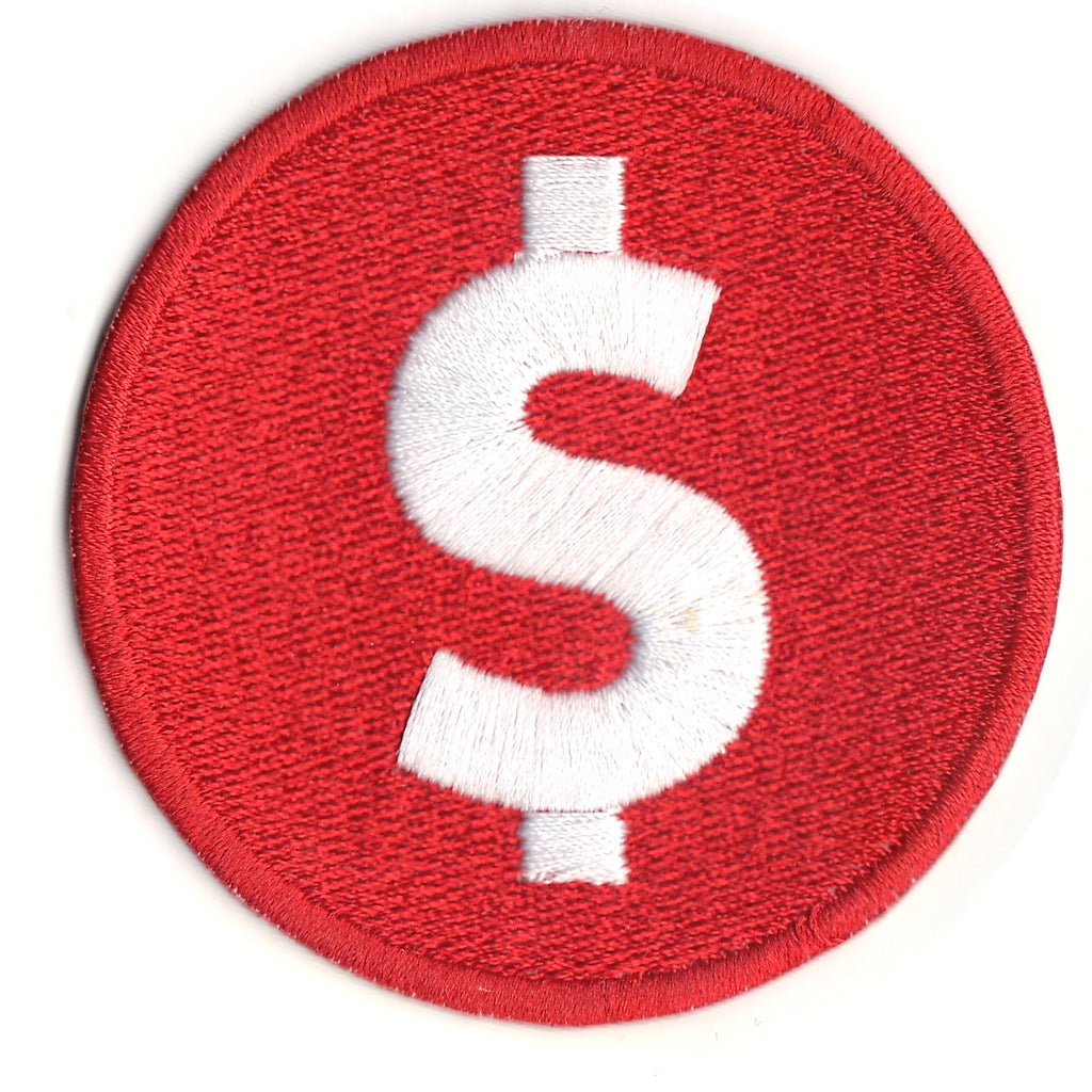 Red Dollar Sign Token Iron On Patch