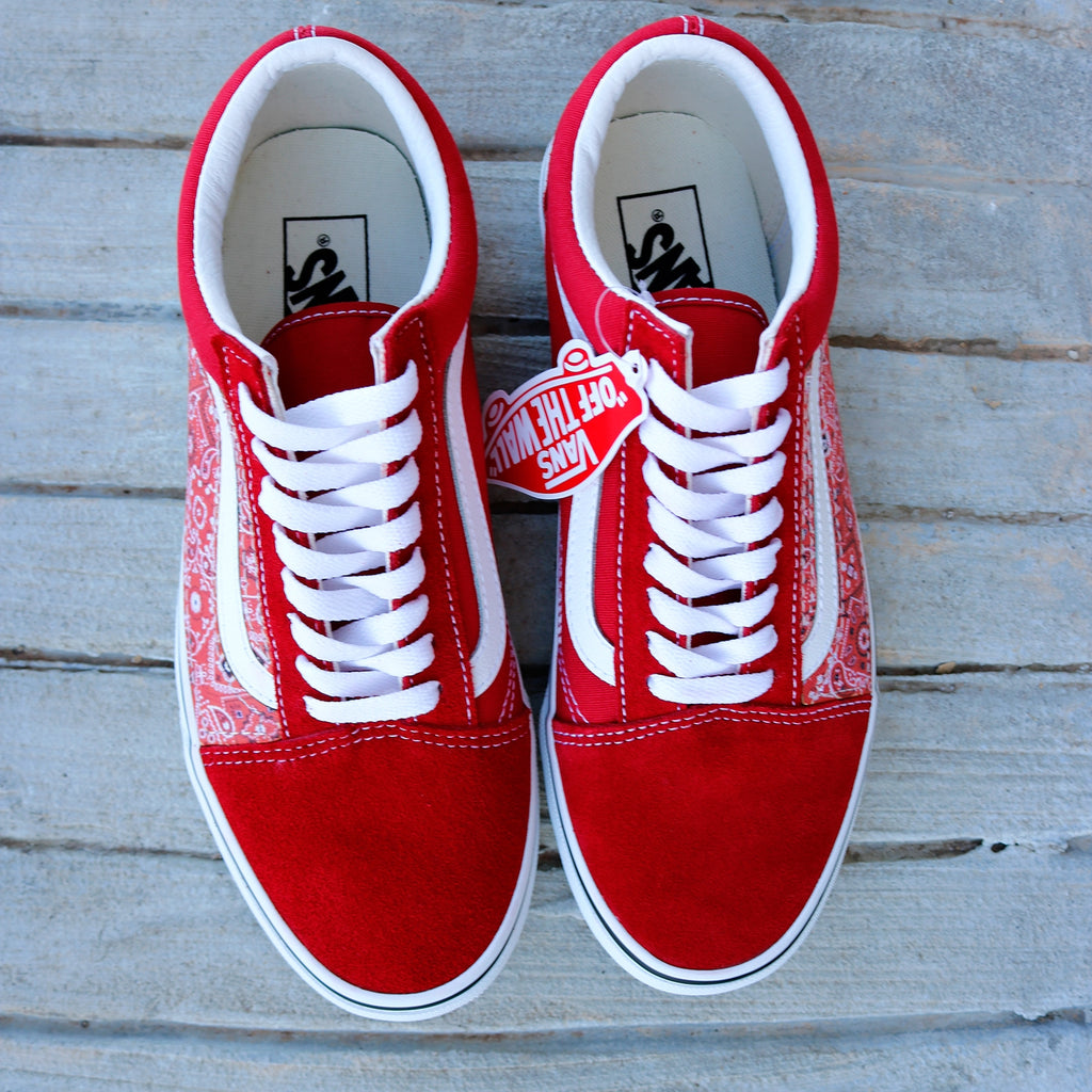 Vans Red Old Skool x Red Bandanna Pattern Custom Handmade Shoes By Patch Collection