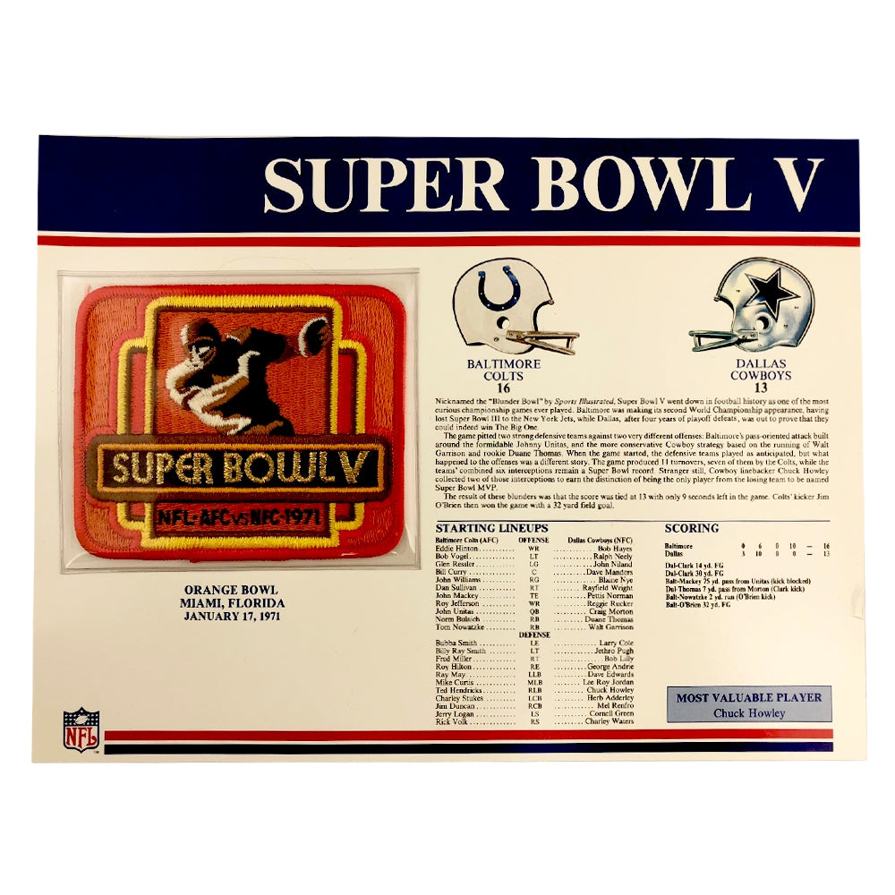 1971 NFL Super Bowl V Logo Willabee & Ward Patch (Baltimore Colts vs. Dallas Cowboys)