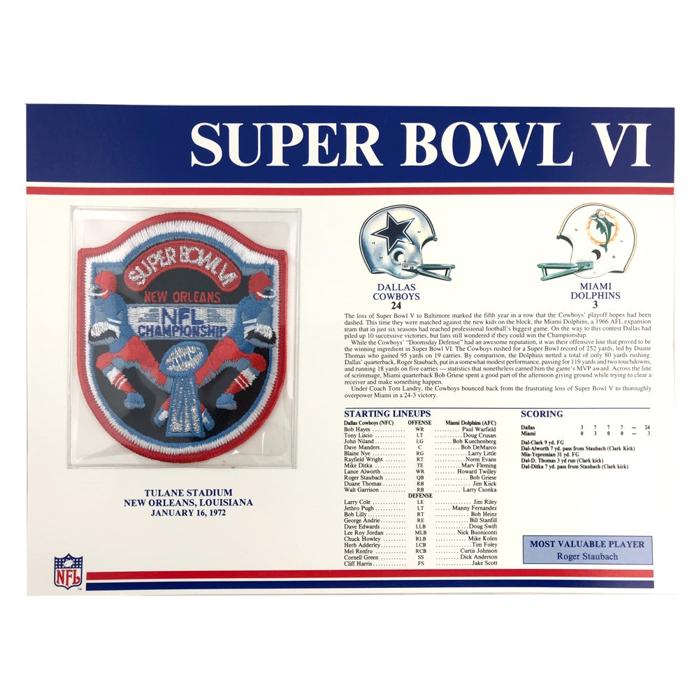 1972 NFL Super Bowl VI Logo Willabee & Ward Patch (Dallas Cowboys vs. Miami Dolphins)
