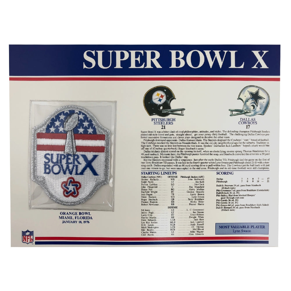1976 NFL Super Bowl X Logo Willabee & Ward Patch (Dallas Cowboys vs. Pittsburgh Steelers)