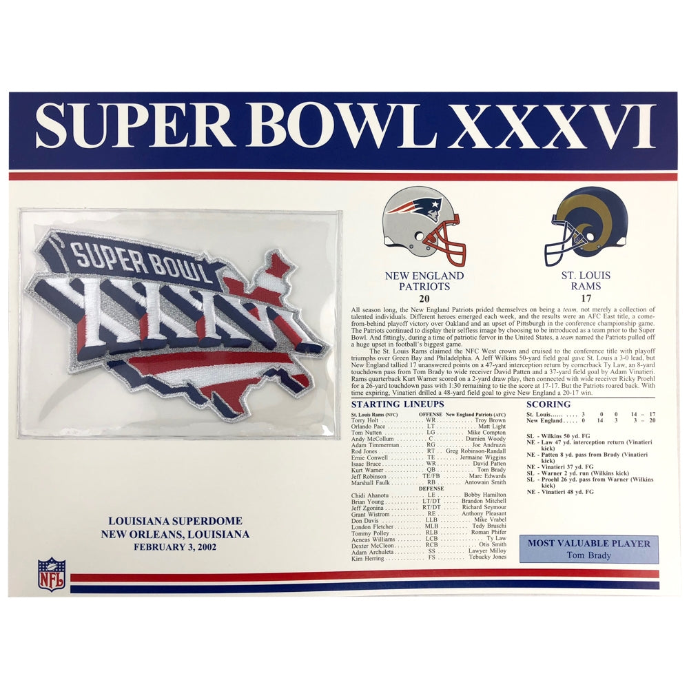 2002 NFL Super Bowl XXXVI Logo Willabee & Ward Patch (St. Louis Rams vs. New England Patriots)