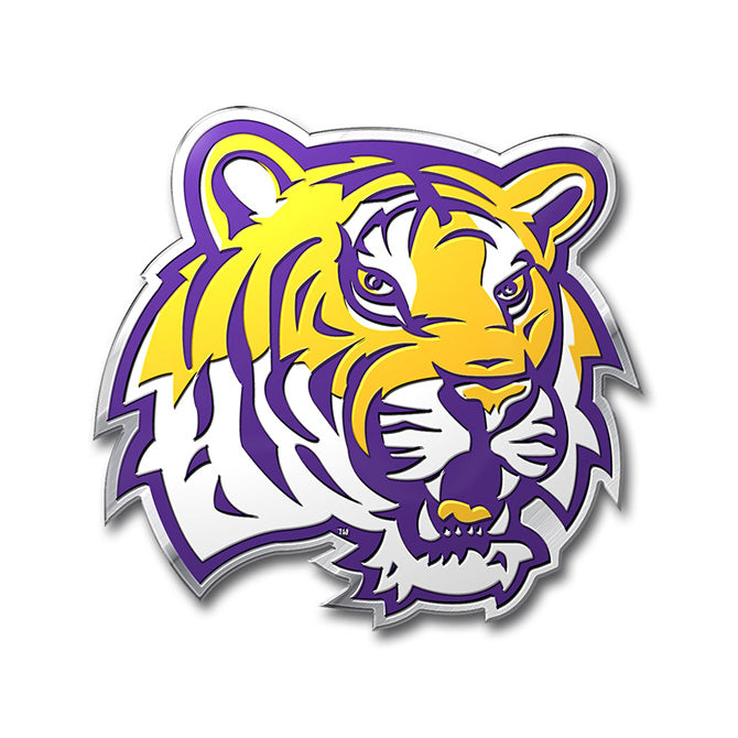 Louisiana State University Tigers Colored Aluminum Car Auto Emblem