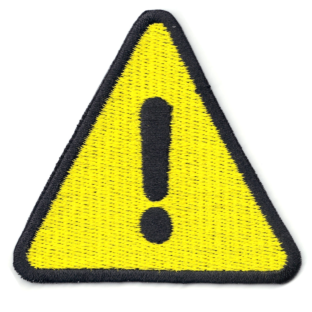 Warning Yellow Street Sign Iron On Patch