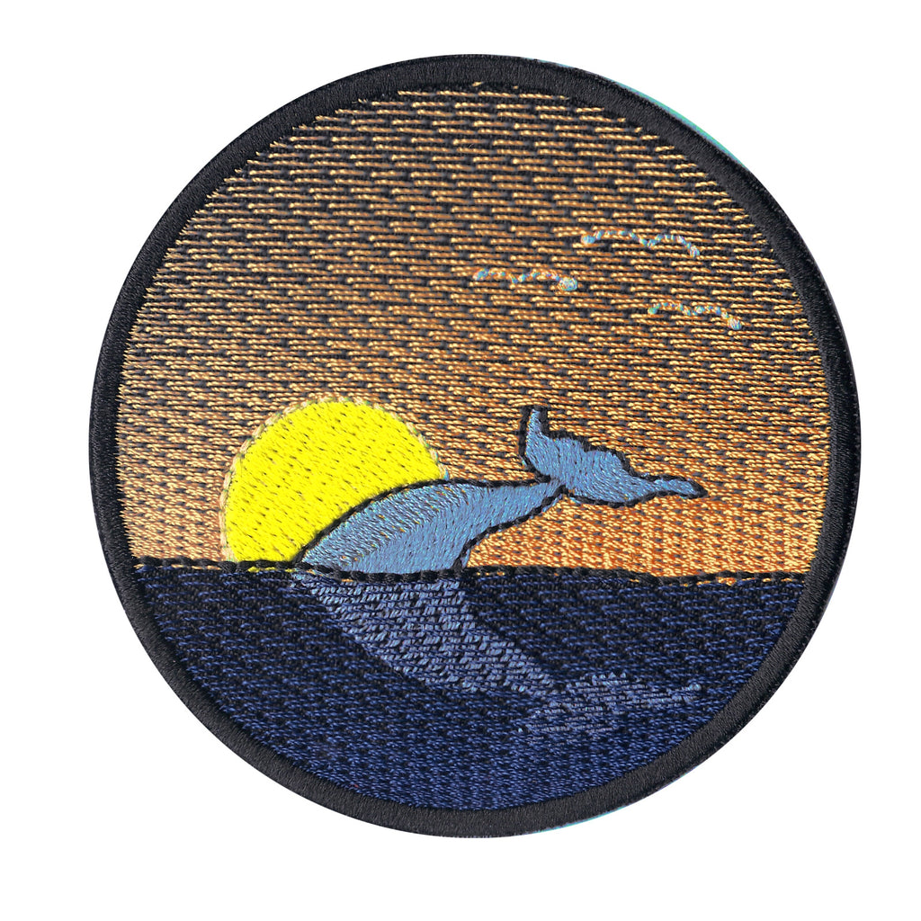 Whale Sunset Iron On Patch
