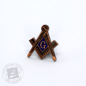 Square and Compass Cobalt Lapel Pin