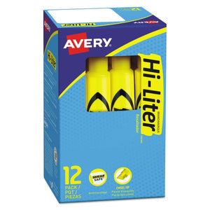 Avery HI-LITER Desk-Style Highlighters, Chisel Tip, Yellow, Dozen