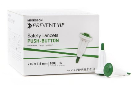Lancet McKesson Prevent® Fixed Depth Lancet Needle 1.8 mm Depth 21 Gauge Push Button Activated