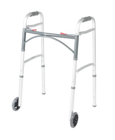 Folding Walker Adjustable Height McKesson Aluminum Frame 350 lbs. Weight Capacity 32 to 39 Inch Height
