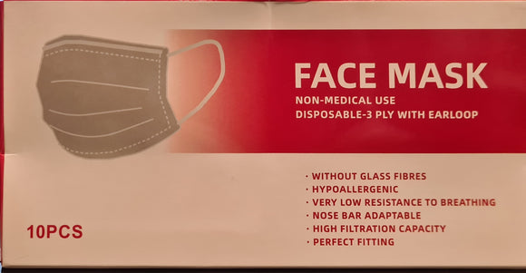 Face Mask Disposable-3Ply with earloop 10PK