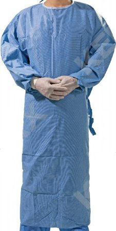 Non-Reinforced Surgical Gown with Towel X-Large Blue Sterile AAMI Level 3 Disposable