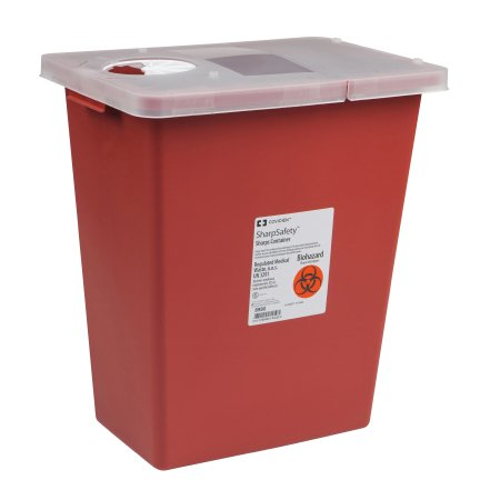 Sharps Container SharpSafety™ 1-Piece 17-1/2 H X 15-1/2 W X 11 D Inch 8 Gallon Red Hinged Lid
