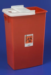 Sharps Container SharpSafety™ 1-Piece 26 H X 18-1/4 W X 12-3/4 D Inch 18 Gallon Red Hinged Lid