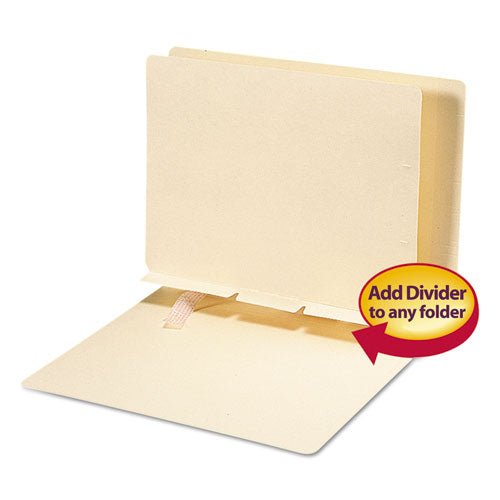 Self-Adhesive Folder Dividers for Top/End Tab Folders, Prepunched for Fasteners, Letter Size, Manila, 100/Box