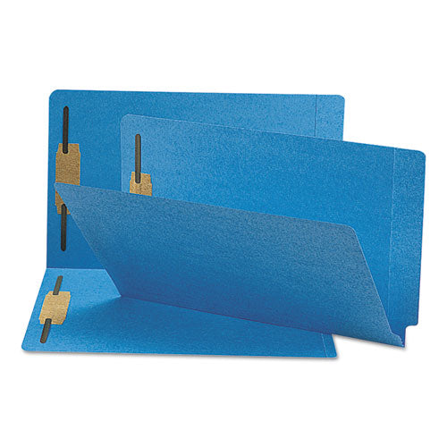 Heavyweight Colored End Tab Folders with Two Fasteners, Straight Tab, Legal Size, Blue, 50/Box