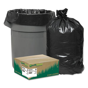 "Linear Low Density Recycled Can Liners, 56 gal, 1.25 mil, 43"" x 48"", Black, 100/Carton"
