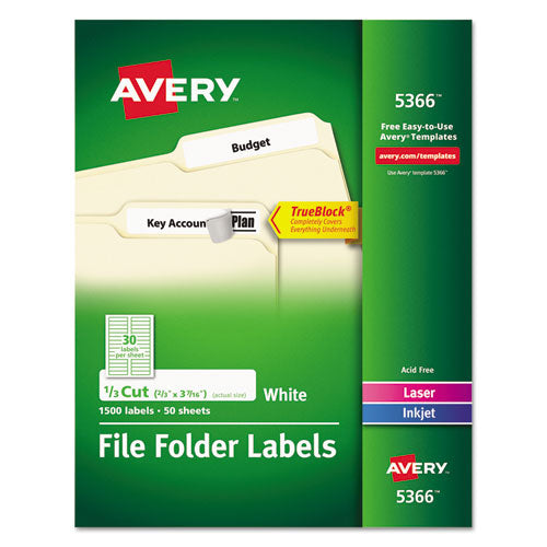 Permanent TrueBlock File Folder Labels with Sure Feed Technology
