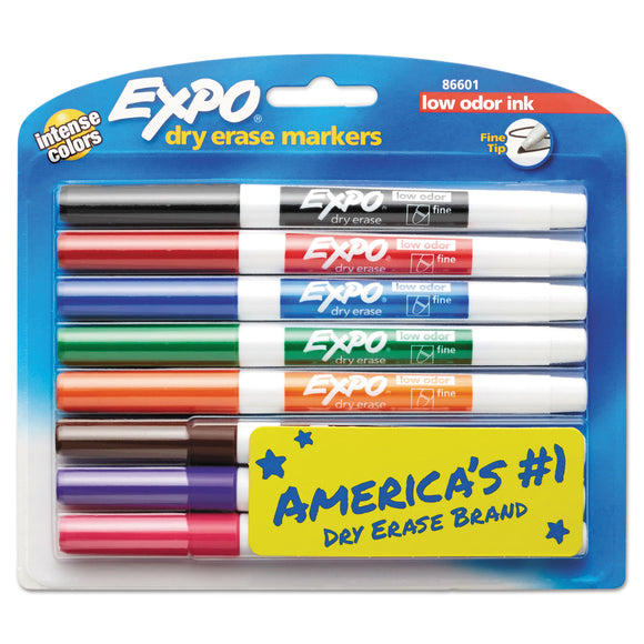 Low-Odor Dry-Erase Marker, Fine Bullet Tip, Assorted Colors, 8/Set