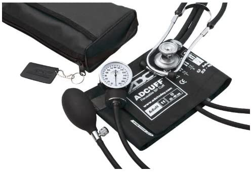 ADC - Pro's Combo II SR Adult Pocket Aneroid/Scope Kit with Prosphyg 768 Blood Pressure Sphygmomanometer and Sprague 641 Stethoscope with Nylon Carrying Case, Black