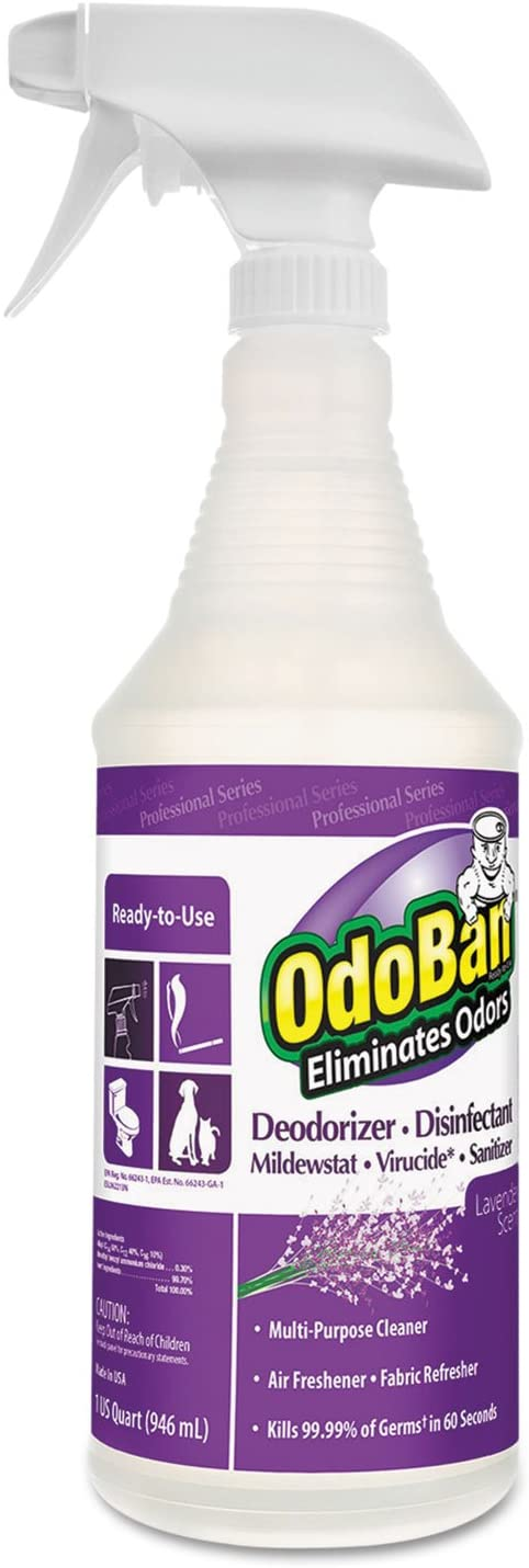 OdoBan RTU Disinfectant Spray & Sanitizer; Lavender Scent 32oz Spray Bottle