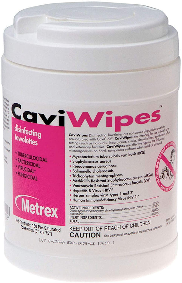 CaviWipes - Cavicide Germacidal Cleaner Wipes 160 ct
