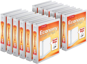 "Cardinal Economy 3-Ring Binders, 1.5"", Round Rings, Holds 350 Sheets, ClearVue Presentation View, Non-Stick, White, Carton of 12"