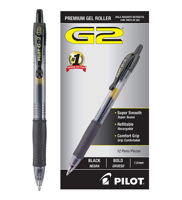 PILOT G2 Premium Refillable & Retractable Rolling Ball Gel Pens, Bold Point, Black Ink, 12 Count