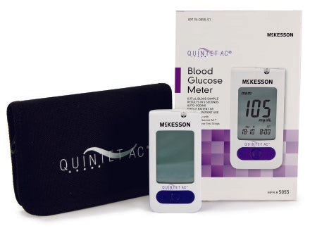 Blood Glucose Meter QUINTET AC® 5 Second Results Stores Up To 500 Results with Date and Time Auto Coding