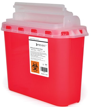 Sharps Container McKesson Prevent® 2-Piece 11 H X 12 W X 4-3/4 D Inch 5.4 Quart Red Horizontal Entry Lid  20/CS