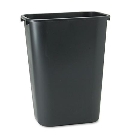 Rubbermaid Black Rectangular Wastebasket / Trash Can, 41 Qt. / 10.25 Gallon
