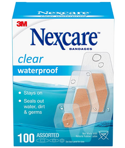 Nexcare Waterproof Bandages, Family Pack, Virtually Invisible, 100 Count, Assorted Sizes