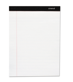 Premium Ruled Writing Pads, Wide/Legal Rule, 8.5 x 11, White, 50 Sheets, 6/Pack
