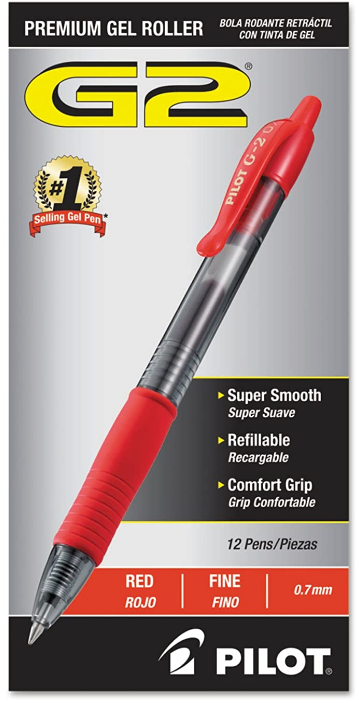 PILOT G2 Premium Refillable & Retractable Rolling Ball Gel Pens, Fine Point, 12 Count
